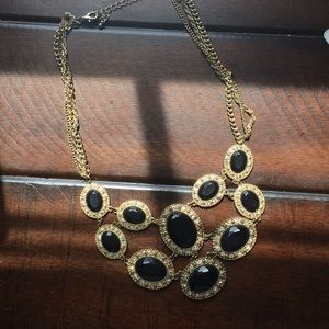 Black, Gold and Diamond Statement Necklace
